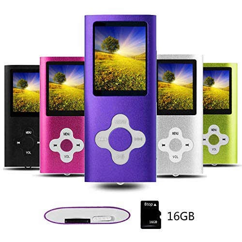 Btopllc Reproductor de MP3 Reproductor de MP4 Reproductor de música Digital Tarjeta de Memoria Interna de 16GB Reproductor de música portátil/Compacto MP3/MP4/Reproductor de Video - Púrpura+Blanco