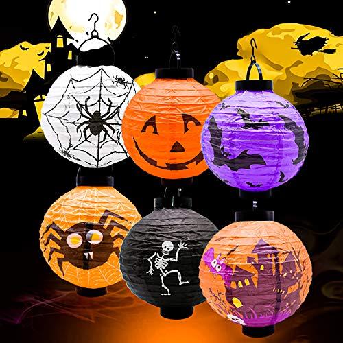 Halloween-Papierlaternen, faltbare und hängbare Halloween-Kürbislaternen, Papierlaternen mit Stützstangen und LED-Lichtern, für Partydekoration im Freien, Kürbisspinnenfledermausschädel (6er-Pack)