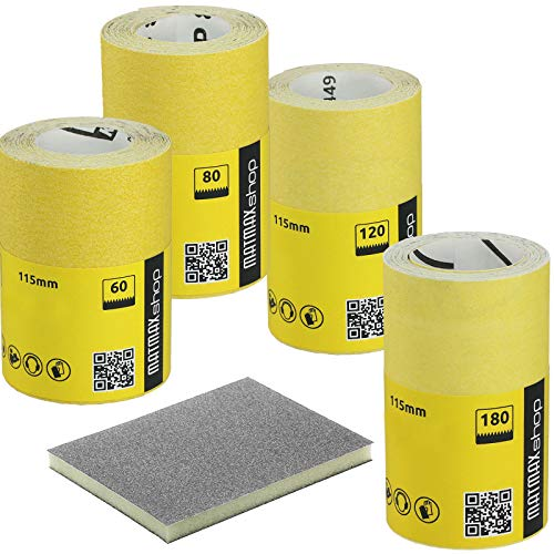 60g (caorse) + 80g (mit) + 120g (gut), + 150g (sehr gut), 220g (Extra Fein)-Aluminiumoxid Schleifpapier Rolle Set–5x 5m (Klingspor–Deutschland)–Best Deal auf Amazon.
