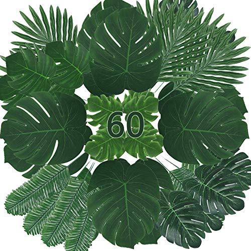 Zhou-long Lot de 60 feuilles artificielles de palmier tropical, feuilles de monstera avec tiges pour décorations de safari ou de fête tropicale