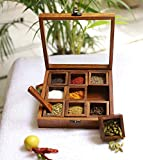 Unique Wooden Handicrafts Sheesham Wood Spice Box with Spoon - 50 ML, 1 Spice Box with 2 Spoon, Brown