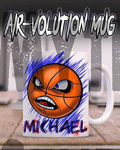 Mythic Airbrush Personalisierte Airbrush Basketball Keramik-Kaffeetasse Weiß