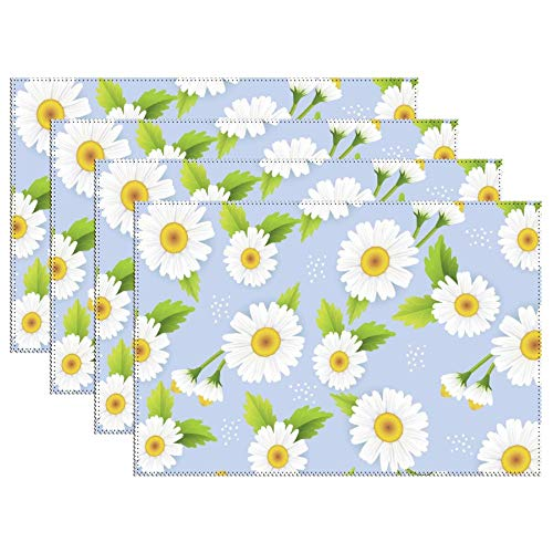 Yilooom Set of 4 Heat Resistant Stain Insulation Place Mats Anti-Skid Washable Canvas Table Placemats 12 X 18 Inch, Daisy Pattern