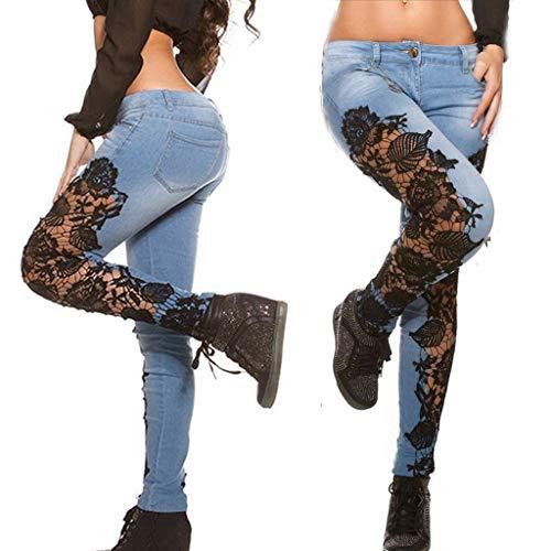 KYZRUIER 2021 Nuevos jeans de encaje hueco de encaje delgado