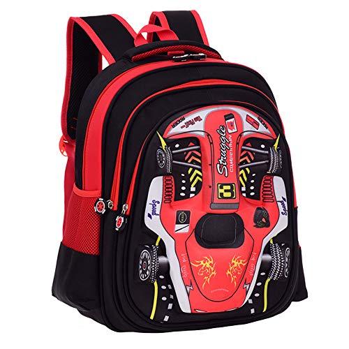 3D Racing Cars Diseño Impermeable Kindergarten Libro Bolsa de Escuela para niños Primary School Mochila Bookbags para niños Rojo Red arge:H15.78*L11.81*W7.87 in