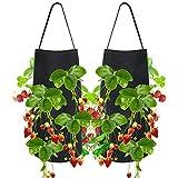 TOPmountain Jardineras Colgantes de Fresas 2 Piezas, para Plantas de raíz Desnuda, Bolsas de Cultivo Grandes al Aire Libre, para balcón, jardín, Patio, decoración del hogar
