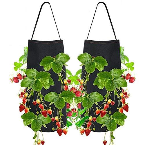 TOPmountain Hängende Erdbeer-Pflanzgefäße 2 Stück, für nackte Wurzelpflanzen, große Wachstumstaschen im Freien, für Balkon, Garten, Hof, Heimdekoration