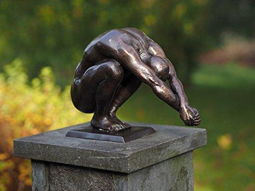 H. Packmor GmbH Figura de bronce de un nadador – Figura de buceo para jardín – Decoración para estanque – 25 x 19 x 11 cm