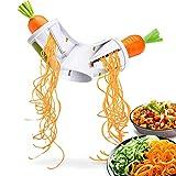 Cafendi   Spiralschneider Hand für Gemüsespaghetti - Kunststoff [BPA frei] - mit Behälter – Gemüse Spiralschneider für Karotte, Zucchini, Kartoffel
