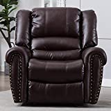 Breathable Bonded Leather Recliner Chair, Theater Seating Single Sofa for Living room Bedroom Ergonomic Lounge with Comfortable Arms Backrest Adjustable Recliner Sofa with Manual Pull, Dark Brown