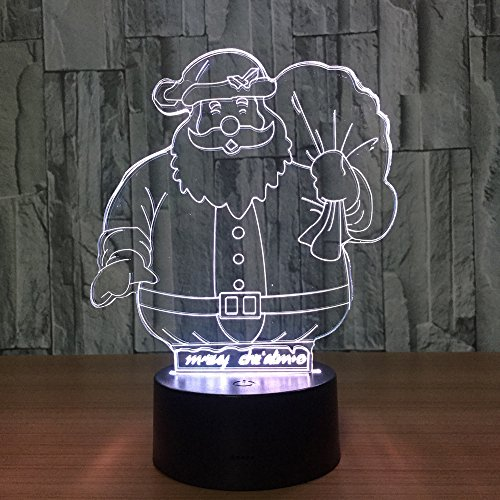 LED Night Light with Santa Claus Pattern,7 Colors Changing with USB Cable,Touch Remote Control, Best for Children Gift Baby Bedroom and Party Decorations.