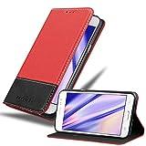 Cadorabo Funda Libro para Samsung Galaxy J5 2015 en Rojo Negro - Cubierta Proteccíon con Cierre Magnético, Tarjetero y Función de Suporte - Etui Case Cover Carcasa