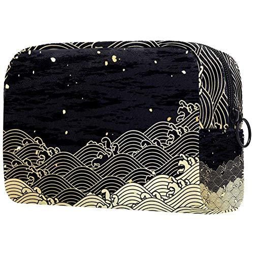 Golden Wave with a a Paper Like TextureSacs de maquillage portables Imprimé Sac cosmétique Sac cosmétique pour femme Sac de voyage