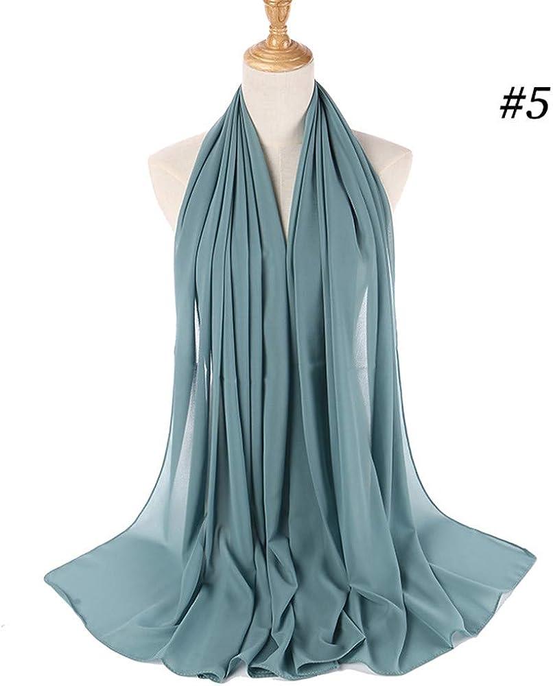 ZEELIY Muslim Hijab Frau Frauen Plain Bubble Chiffon Schal Chiffon Schal Hijab Wrap Printe Schals Stirnband Muslim Hijabs C