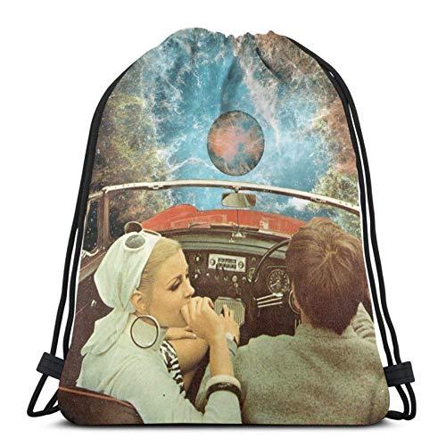 Mochila de viaje espacial con cordón para toalla de cara, bolsa de deporte, estilo saco de gimnasio, 8