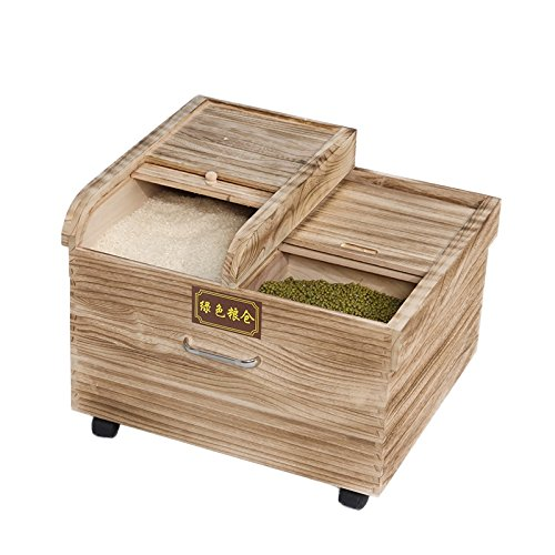 ZWL Carbonisation du bois Trois lattes Rice Box Riz de riz, lutte antiparasitaire Boîte à riz, boîte de céréales de cuisine Boîte de rangement de céréales à barils de riz scellés Boite de rangement de nourriture fraîche humide Roue mobile 20 Kg Récipient sain de stockage de céréales ( Couleur : #2 )