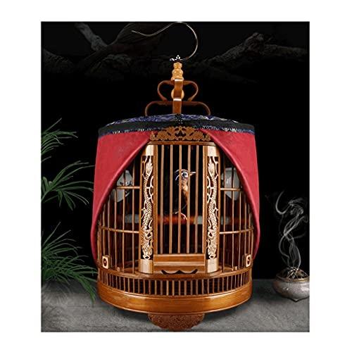 Gabbie per uccelli decorative Grande gabbia per uccelli intagliata con coperchio della gabbia, gabbia di volo di Bambù uccello con supporto per il rotolamento, viaggi portatile gabbia da uccello-marr