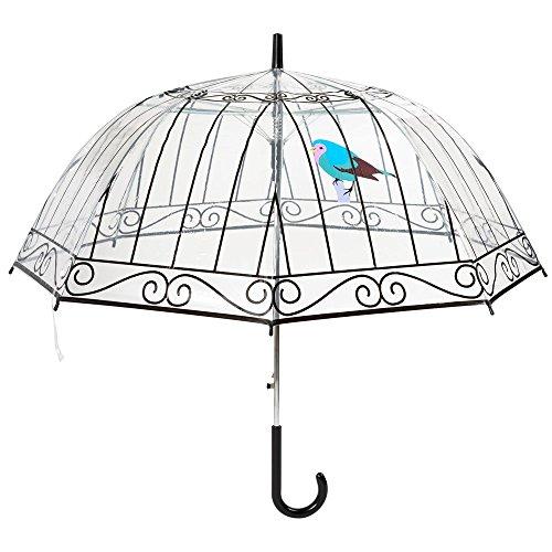 Paraguas La chaise longue campana para mujer transparente automático, diseño de jaula de pájaros