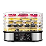 SUNGLIFE Food Dehydrator Machine for Jerky/Meat/Beef/Fruit/Vegetable, 5 BPA-Free Trays Automatic Food Drying Machine