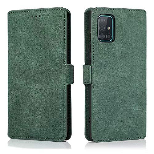 LCHULLE Handyhülle für Samsung Galaxy S10 Lite/A91 Hülle Lederhülle Premium Leder Flip Hülle Cover Standfunktion Schutzhülle Tasche Kartenfach Leder Brieftasche Klapphülle Grün