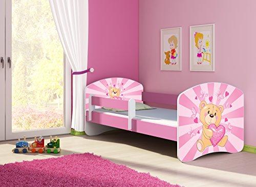 Clamaro 'Fantasia Pink' 140 x 70 Kinderbett Set inkl. Matratze und Lattenrost, mit verstellbarem Rausfallschutz und Kantenschutzleisten, Design: 10 Herz Teddy