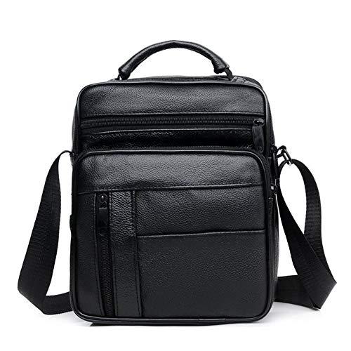 Huachaoxiang Casual Herren Business Echtes Leder Mini Umhängetasche Rindsleder Kleine Herren Einzel Schulter Messenger Bags Hohe Qualität,Schwarz