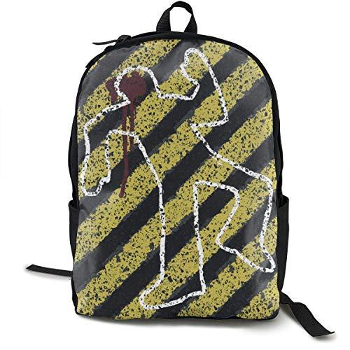 Lightweight Polyester Backpck Murder Crime Scene Reisen Hiking Bag & Day Pack - große Kapazität Multipurpose Anti-Diebstahl Shoulder Bag for Man/Women/College Teen Girls