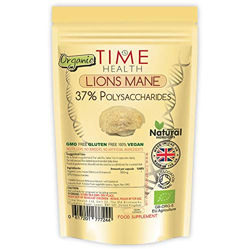 Lions Mane Organic Extract - 60 Capsules - EU Grown - 37% Polysaccharides - Dual Extracted - No Fillers, Binders or Flow Agents - Vegan - Pullulan Encapsulated (60 Capsule Pouch)