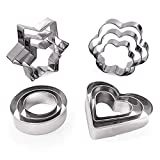 Cookie Cutters Shapes Baking Set, 12PCS Flower Round Heart Star Shape Biscuit Stainless Steel Metal Molds Cutters for Kitchen Baking Halloween Christmas Small Cookie Cutters