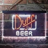 Duff Beer LED看板 ネオンサイン バーライト 電飾 ビールバー 広告用標識 白色 + 橙色 W40cm x H30cm