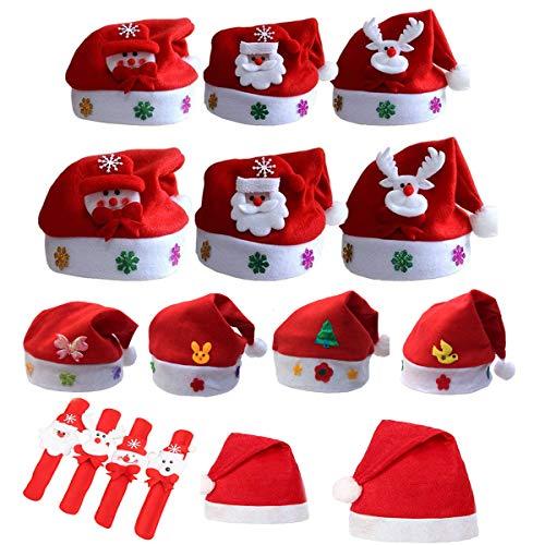 mengger 16Pcs Bonnet Noel Enfant Chapeau de Père Rouge en Peluche Ornements de Noël Mère Santa avec Serre-têtes pour Adulte Enfant avec Bracelet Enfant de Noël