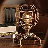 TOMSSL Lampe De Table Rustique Salon Chambre Chevet Créatif Rétro Laiton Tuyau De...