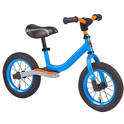 12' Balance Bike, regolabile manubrio e di sicurezza, acciaio al carbonio Frame No Pedale Walking Balance Bike Training biciclette No-pedale Pre Walking Bike per Toddler & bambini dai 2 ai 5 anni,Blu