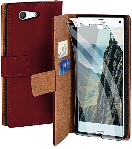 moex Handyhülle für Sony Xperia Z3 Compact - Hülle mit Kartenfach, Geldfach & Ständer, Klapphülle, PU Leder Book Hülle & Schutzfolie - Weinrot