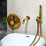 Rubinetto in ottone massiccio spazzolato oro Set doccia per bagno Soffione doccia Set doccia a parete Rubinetto per doccia Set miscelatore per braccio doccia