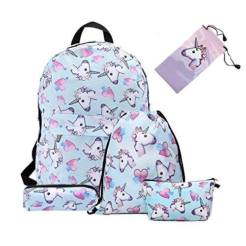 Smallbox 2018 moda kawaii 3D impresión azul amor unicornio patrón niñas Escuela mochila para gimnasio escuela de viajes (pack de 5)