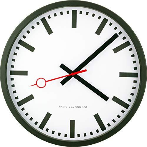 Eurotime Funkwanduhr, 35 cm, im Bahnhofsdesign, geräuscharmes Funkwerk, kein Ticken, Aluminiumgehäuse matt schwarz, automatische Zeitein- und Zeitumstellung, für Wohnbereich oder Büro, 59530