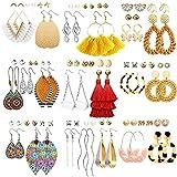 47 Pairs Fashion Earrings for Women Girls, Boho Statement Tassel Rattan Leather Earrings Ethnic Fashion Butterfly Stud Acrylic Hoop Silver Drop Dangle Earrings Set for Birthday Everyday Jewelry Gift