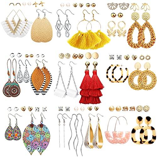 47 Pairs Fashion Earrings for Women Girls, Boho Statement Tassel Rattan Leather Earrings Ethnic...