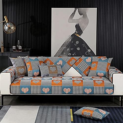 Antideslizante Protector Cubierta de Muebles,Asiento de funda de sofá a cuadros jacquard de chenilla, toalla de banco de funda de sofá para decoración de sala de estar azul claro 43 * 83 inch