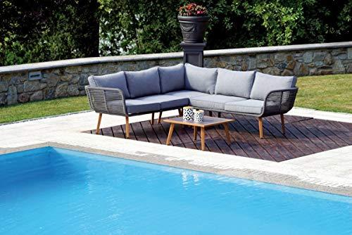 Grupo Maruccia - Sofá esquinero de Aluminio con Efecto Madera y Cuerda con Mesa de Centro, decoración de Hotel, salón de jardín, sofá para Exterior