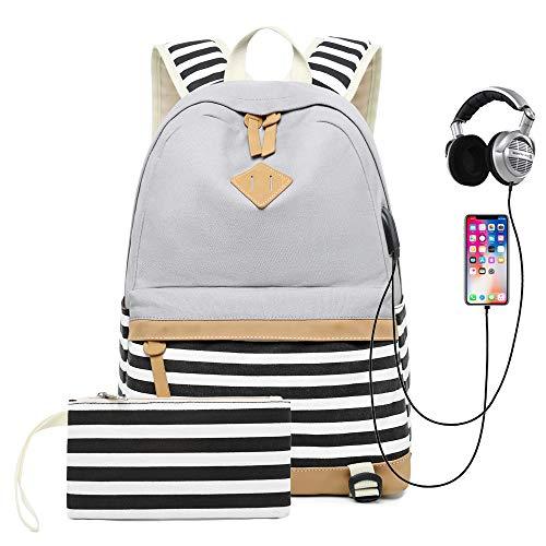 Sqodok, zaino per la scuola in tela da 15,6', zaino con caricatore USB