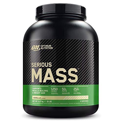 Optimum Nutrition ON Serious Mass Hochkalorisches Weight Gainer Protein Pulver, Whey Protein, Vitamine, Kreatin und Glutamin, Vanilla, 8 Portionen, 2.27kg, Verpackung kann Variieren