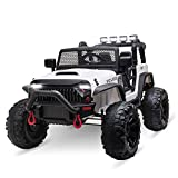 Aosom 12V Battery-Powered Kids Electric Ride On Truck Car with Wide Seat, Parent Remote Control & Bluetooth Music, White