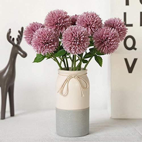 MEihuaR Blumen Künstliche Blume Kunstblume Seide Kunststoff 10 Künstliche Hortensie Hauptdekorationen Hochzeitsstrauß - Deep Purple