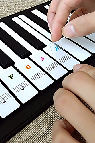 Piano Stickers for Keys Removable Music Note Full Set Stickers and Keyboard White and Black Keys Double Layer Coating for 88/61/54/49 Keyboards