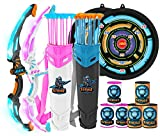 JOYIN 2 in 1 Combo Set Graviton & Photon Bow and Arrow Archery Toy Set for Kids, Light Up Archery Play Set with 2 Luminous Bows, 18 Suction Cups Arrows, 8 Targets, and 2 Quivers