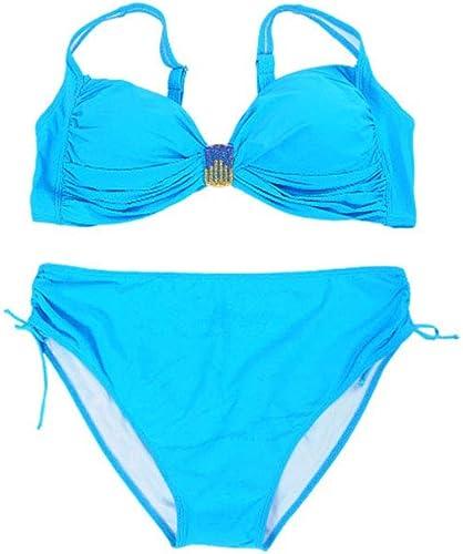 XXXR Maillot de Bain pour Femmes de Grande Taille, Maillot de Bain Sexy de Grande Taille en Bikini de Couleur Unie avec Composition en Plaque d'acier