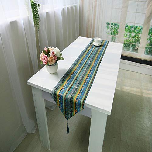 Chemin de table en lin vintage, style ethnique, couverture de table à manger, pour napperon (Couleur : Green, taille : 32 * 180cm)