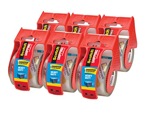 Scotch Heavy Duty Shipping Packaging Tape, 6 Rolls with Dispenser,